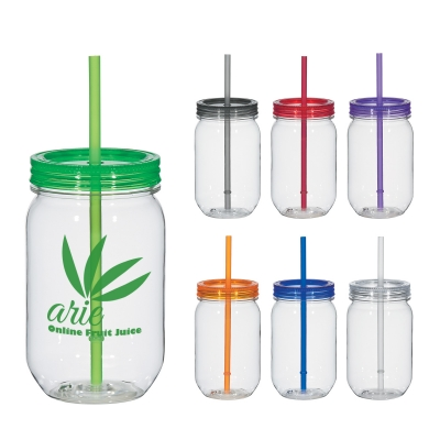 Personalized Plastic Mason Jar With Lid And Straw Custom Imprinted